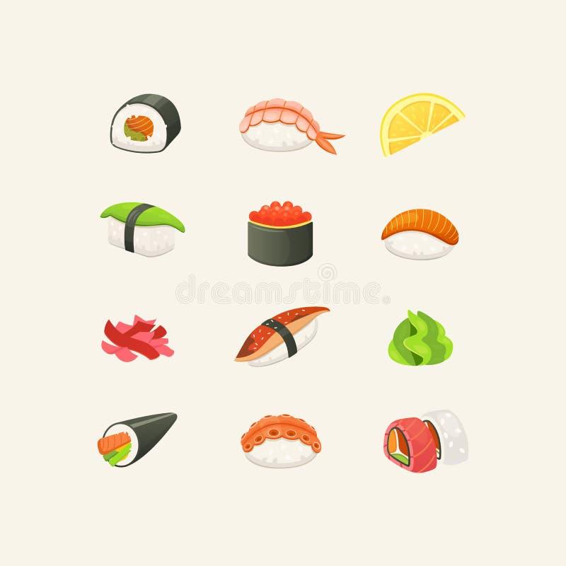 Traditionele Japanse sushi en broodjes Aziatische heerlijke zeevruchten, restaurant en sashimireeks Vector illustratie stock illustratie