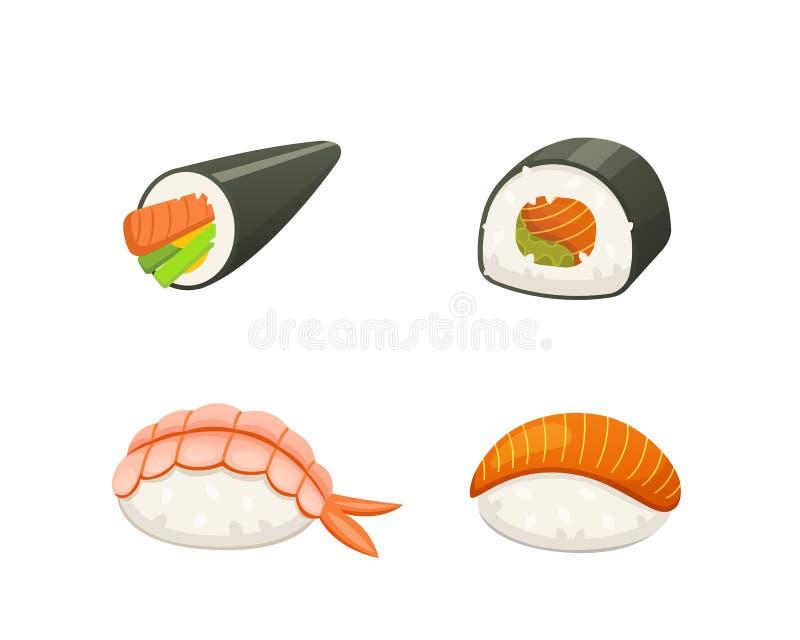 Traditionele Japanse sushi en broodjes Aziatische zeevruchten, restaurant heerlijke vectorillustratie stock illustratie