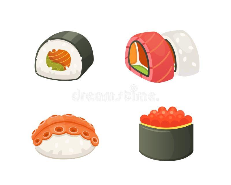 Traditionele Japanse sushi en broodjes Aziatische zeevruchten, restaurant heerlijke vectorillustratie royalty-vrije illustratie