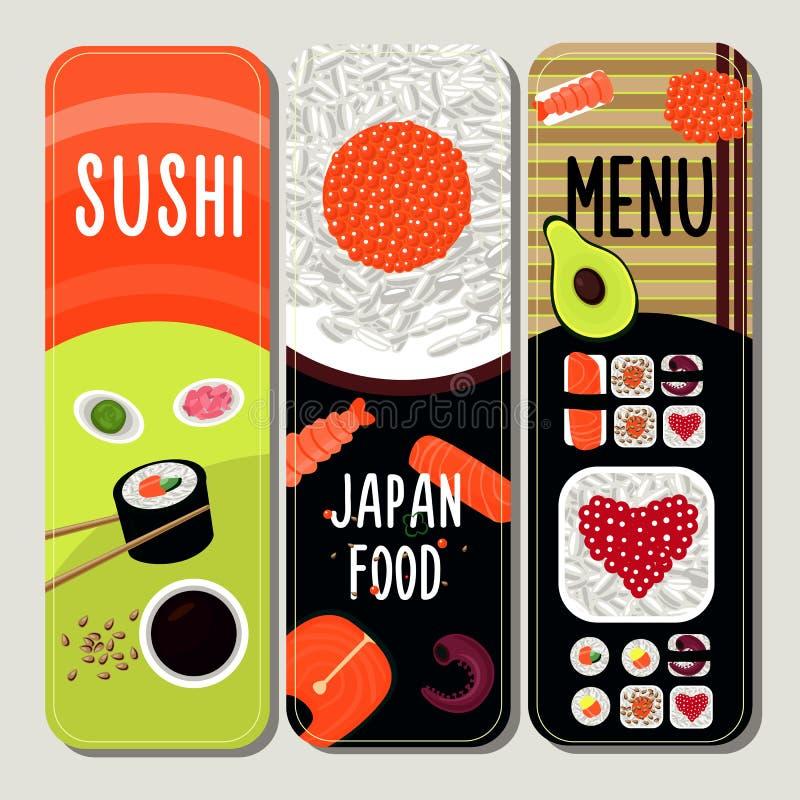 Traditionele Japanse Voedsel Verticale Banners vector illustratie