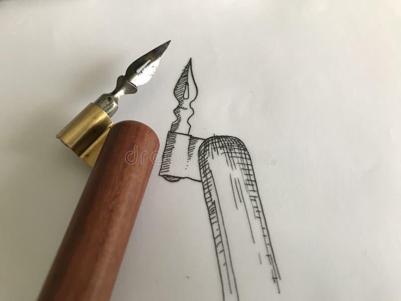 Traditionele Kalligrafie Schuin Pen Drawing Sketch royalty-vrije stock afbeelding