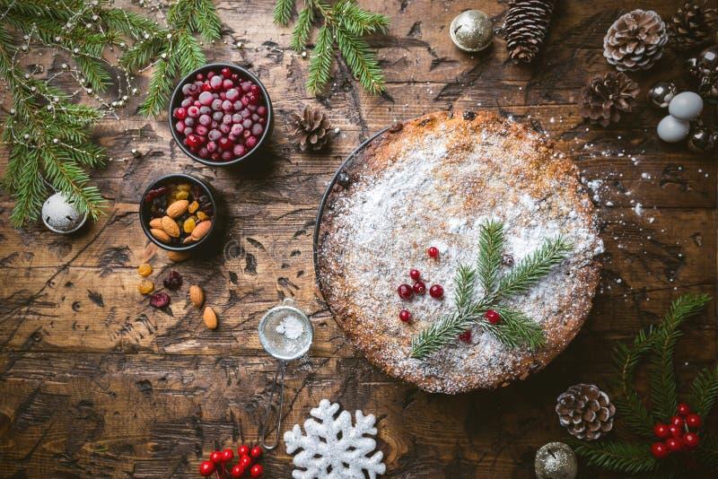 Traditionele Kerstmiscake royalty-vrije stock foto's