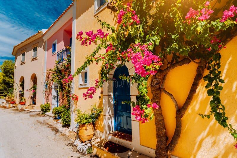 Traditionele kleurrijke Griekse huizen in Assos-dorp Bloeiende fuchsiakleurig installatiebloemen die rond deur groeien Warm zonli royalty-vrije stock foto