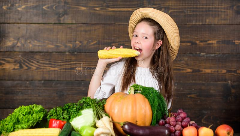 Traditionele landbouwbedrijfmarkt Jong geitjelandbouwer met oogst houten achtergrond Het kind viert het oogsten Het landbouwbedri royalty-vrije stock afbeeldingen
