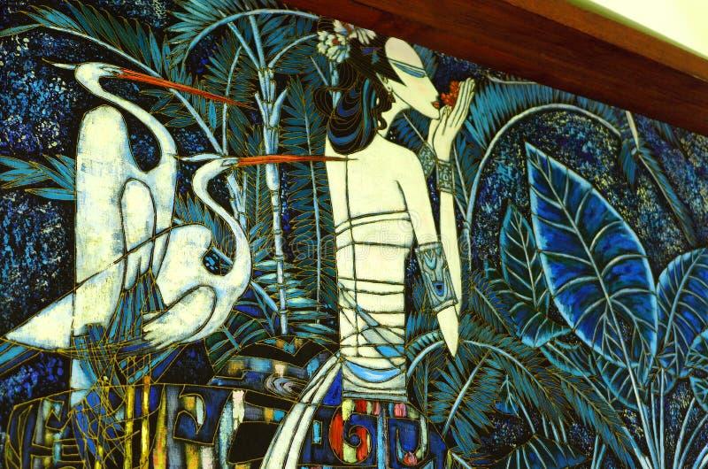 Traditionele Malasia-batik die etnisch kunststuk schilderen stock afbeeldingen