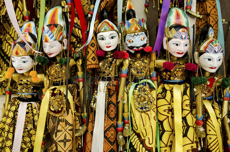 Traditionele marionetten in Bali Indonesië stock afbeelding