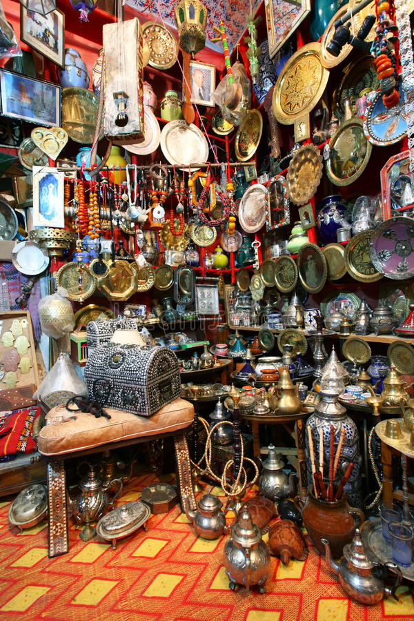 Traditionele Marokkaanse herinneringswinkel stock afbeelding