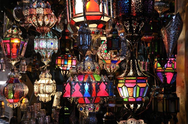 Traditionele Marokkaanse lampen stock afbeeldingen