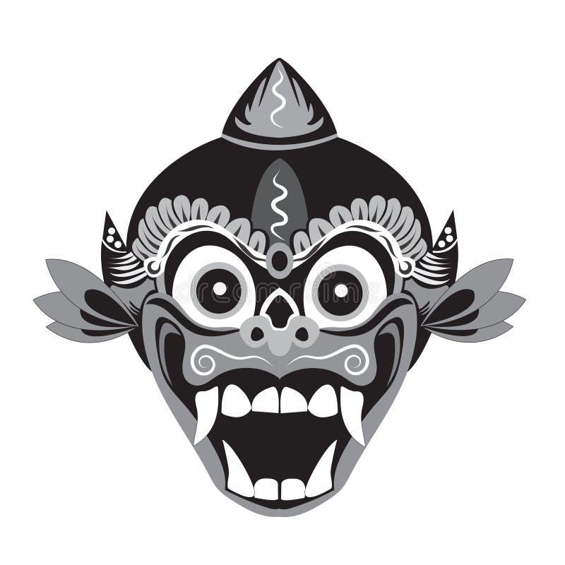 traditionele maskerillustratie van een aap met een witte achtergrond stock illustratie