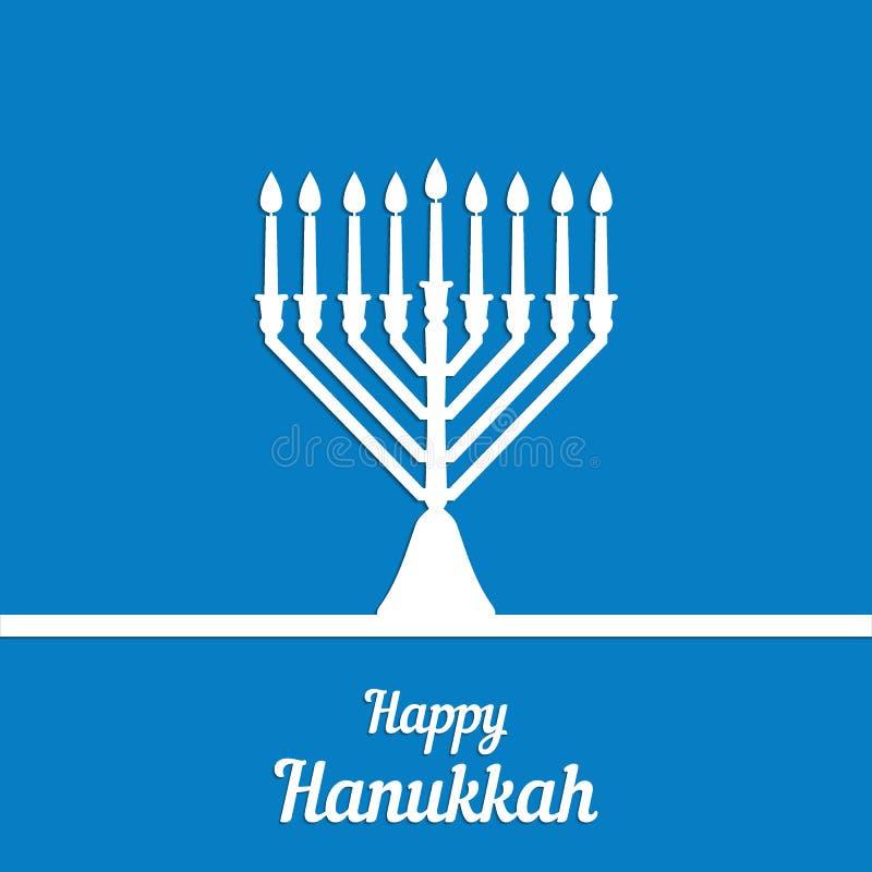 Traditionele menorah voor het Joodse Chanoekafestival Wit silhouet op een blauwe achtergrond, felicitatieinschrijving Vector IL vector illustratie
