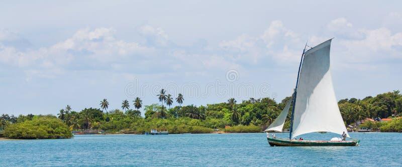 Traditionele met de hand gemaakte zeilboot in Amazonië van Brazilië stock fotografie