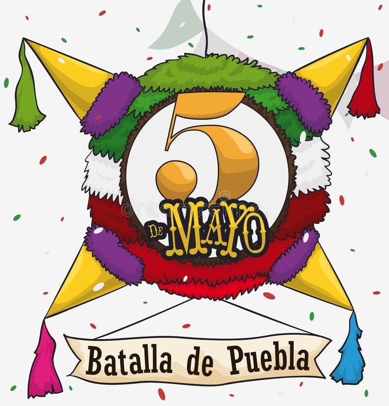 Traditionele Mexicaanse Pinata voor Cinco de Mayo Celebration, Vectorillustratie royalty-vrije illustratie