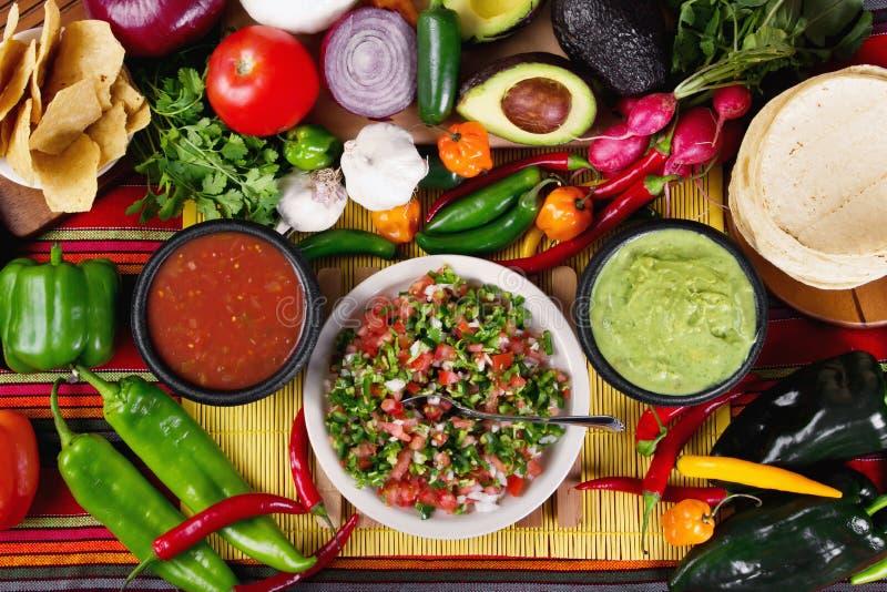 Traditionele Mexicaanse salsas royalty-vrije stock foto