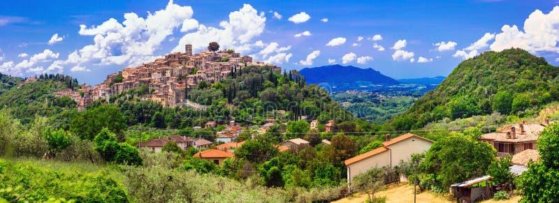 Traditionele middeleeuwse dorpen van Italië - toneelborgo Casperia, royalty-vrije stock foto's