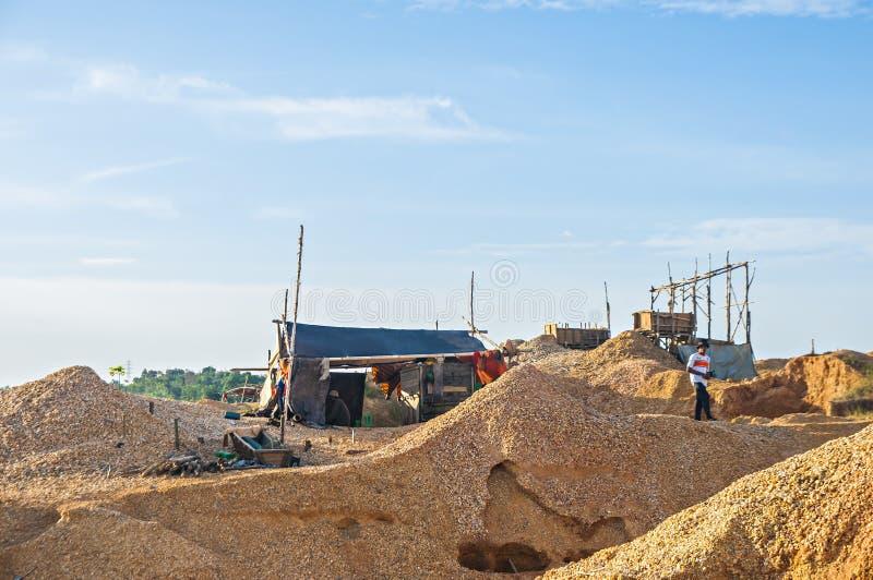 Traditionele mijnbouwlocatie in Martapura, Banjarbaru, Zuid-Kalimantan, Indonesië royalty-vrije stock foto's