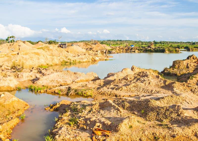 Traditionele mijnbouwlocatie in Martapura, Banjarbaru, Zuid-Kalimantan, Indonesië stock foto