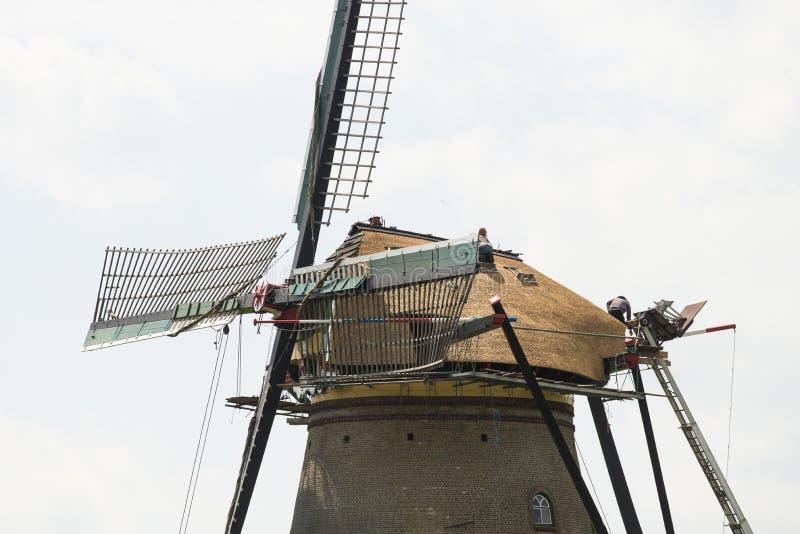Traditionele molens in Nederland, in Kinderdijk stock foto