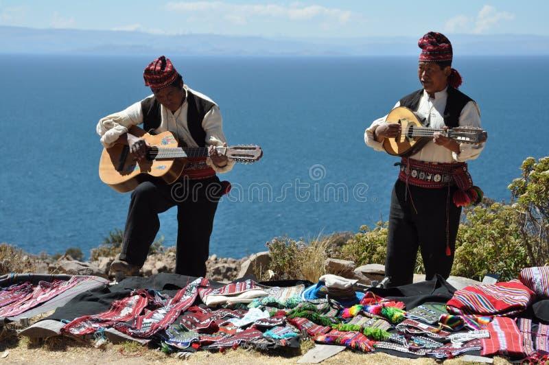 Traditionele musici van Peru stock afbeeldingen