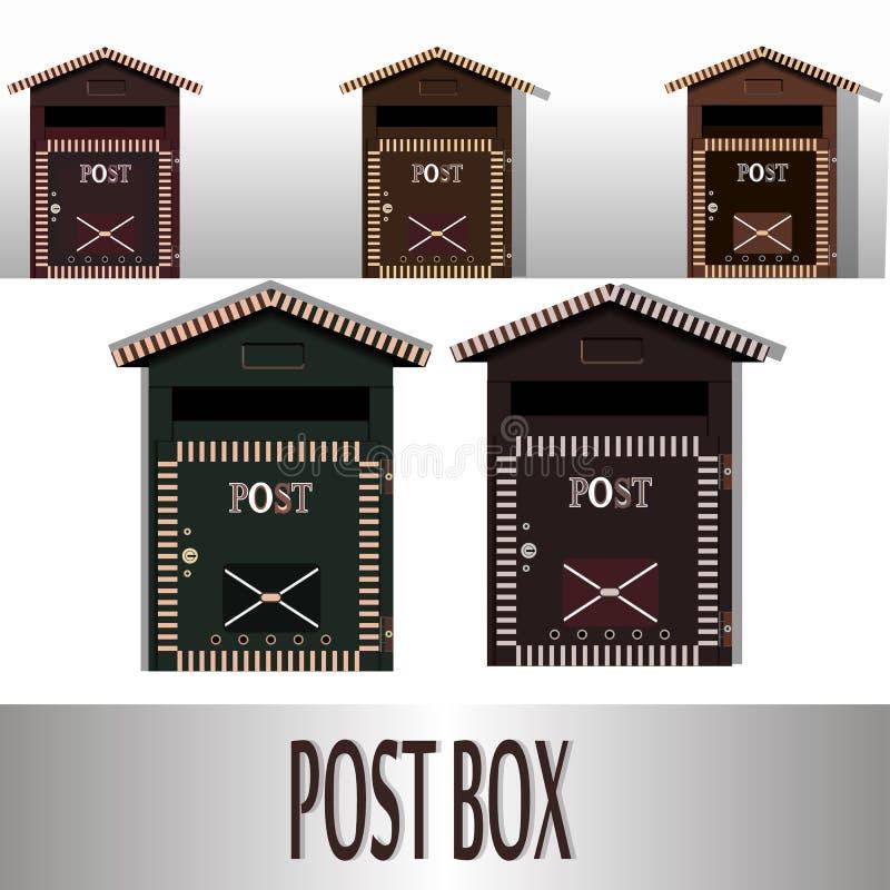 Traditionele muur opgezette metaalbrievenbus Klassieke postdoos voor post en correspondentie royalty-vrije illustratie