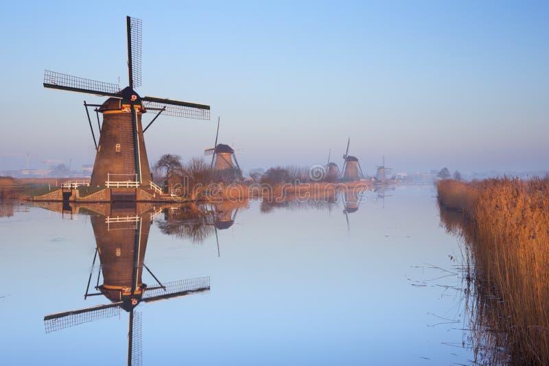Traditionele Nederlandse windmolens bij zonsopgang in Kinderdijk stock afbeelding