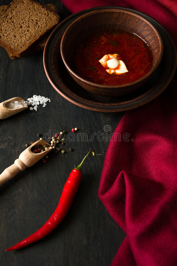 Traditionele Oekraïense borscht royalty-vrije stock afbeeldingen