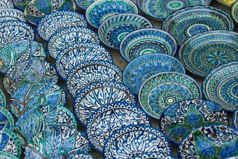 Traditionele Oezbekistaanse ceramische platen royalty-vrije stock foto's