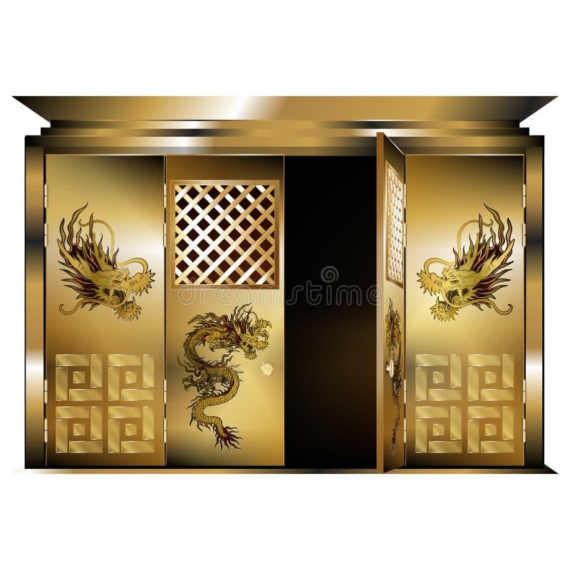 Traditionele oostelijke poort gouden draken geopende deur vector illustratie