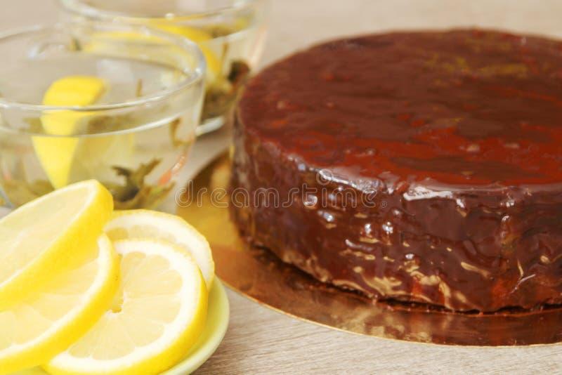 Traditionele Oostenrijkse Sacher-cake royalty-vrije stock foto