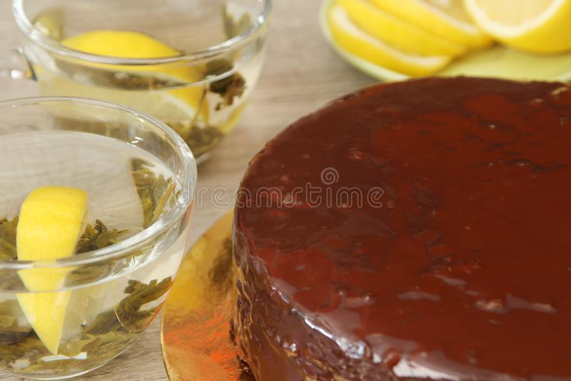 Traditionele Oostenrijkse Sacher-cake stock foto