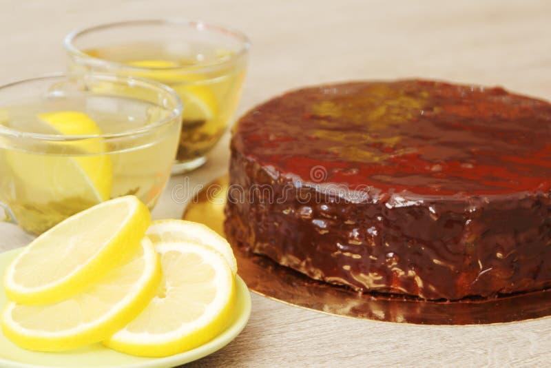 Traditionele Oostenrijkse Sacher-cake stock afbeelding