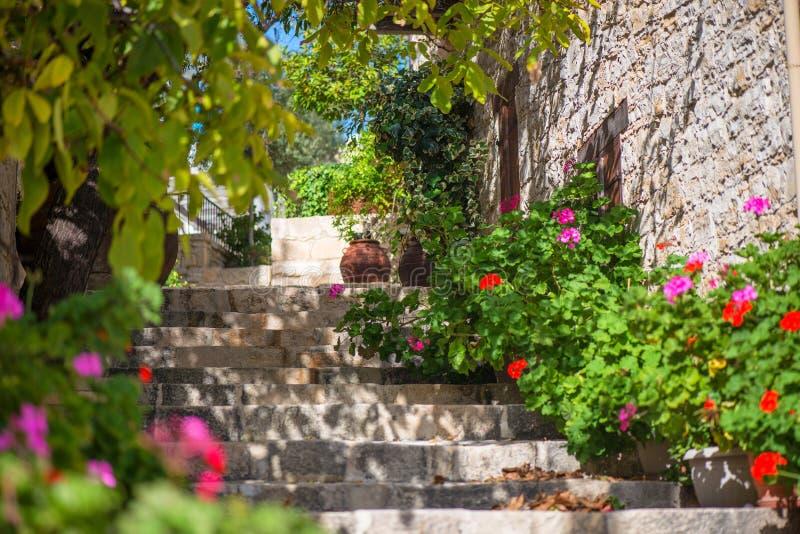 Traditionele oude straat in Lofou-dorp Limassol District cyprus stock fotografie