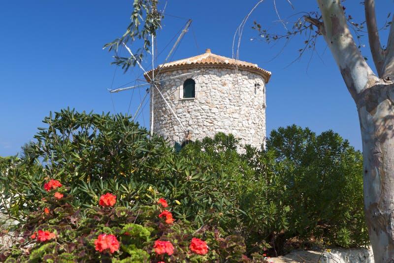 Traditionele oude windmolen van het eiland van Zakynthos royalty-vrije stock foto's