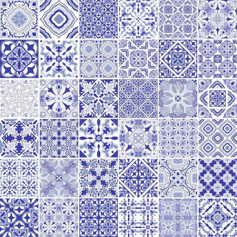 Traditionele overladen Portugese decoratieve tegelsazulejos Uitstekend patroon in blauw thema abstracte achtergrond Vectorhand vector illustratie