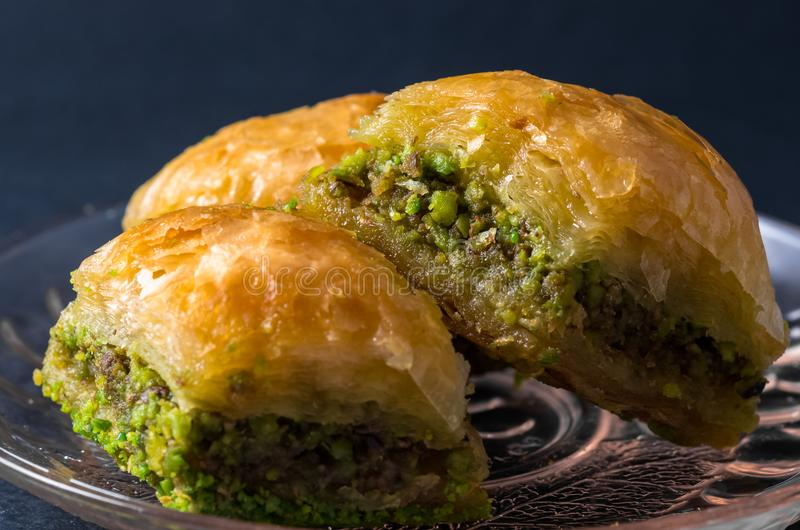 Traditionele pistache Baklava van Gaziantep, Turkse verrukking royalty-vrije stock afbeeldingen