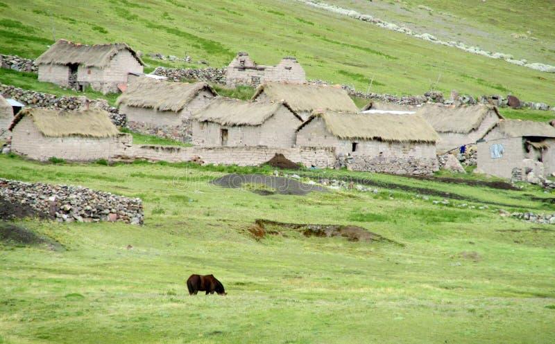 Traditionele quechua steenhuizen stock foto