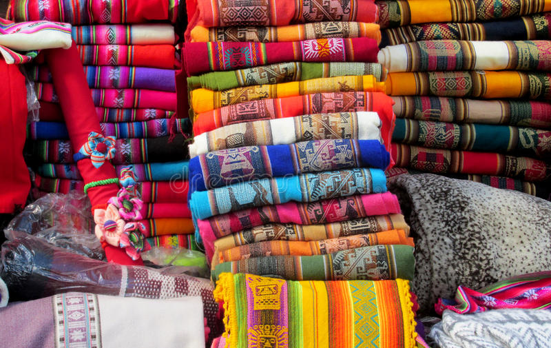 Traditionele quechua textil royalty-vrije stock foto