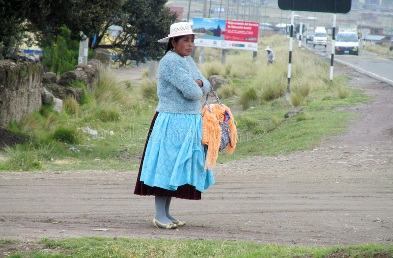 Traditionele Quechua Vrouw stock foto's
