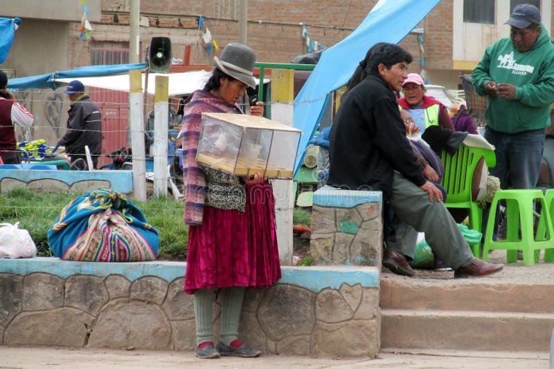 Traditionele quechua vrouw bij de markt royalty-vrije stock foto's