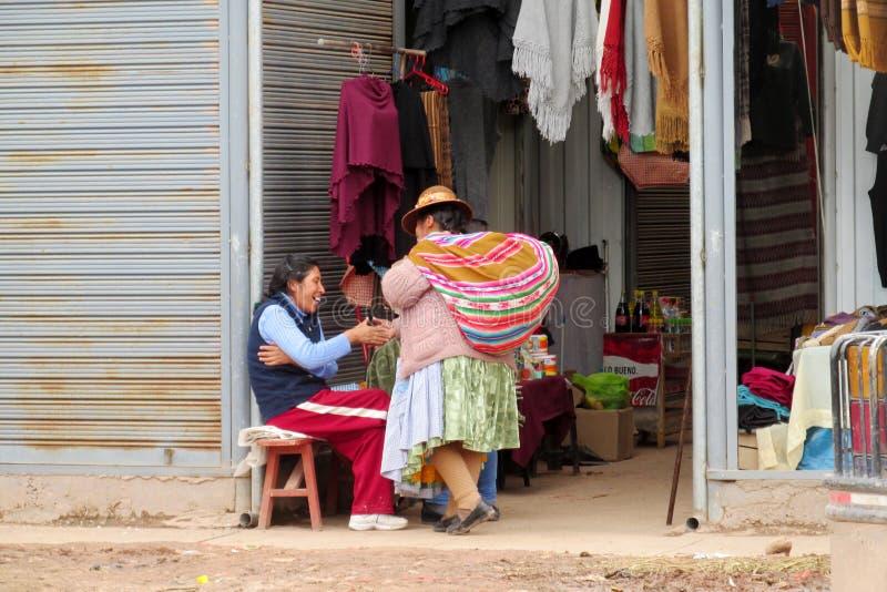Traditionele quechua vrouw bij de markt royalty-vrije stock afbeelding