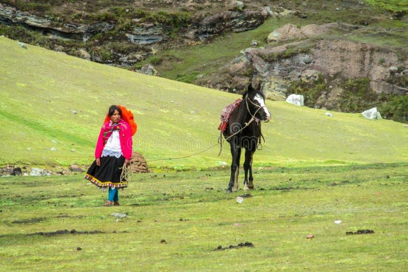 Traditionele quechua vrouw met paard stock foto's