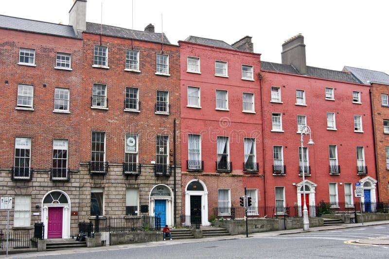 Traditionele rij van Victoriaanse Huizen, Dublin, Ierland stock fotografie