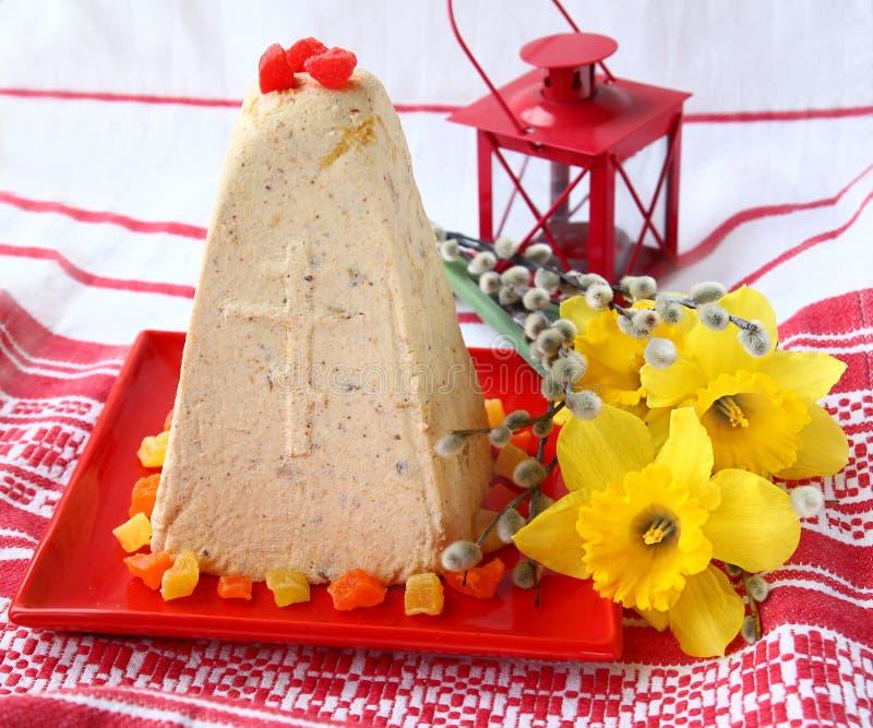 Traditionele Russische gestremde melkPasen pastei royalty-vrije stock afbeelding