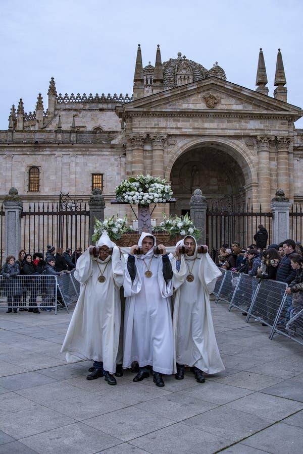 Traditionele Spaanse Heilige Weekoptocht in Zamora royalty-vrije stock foto's
