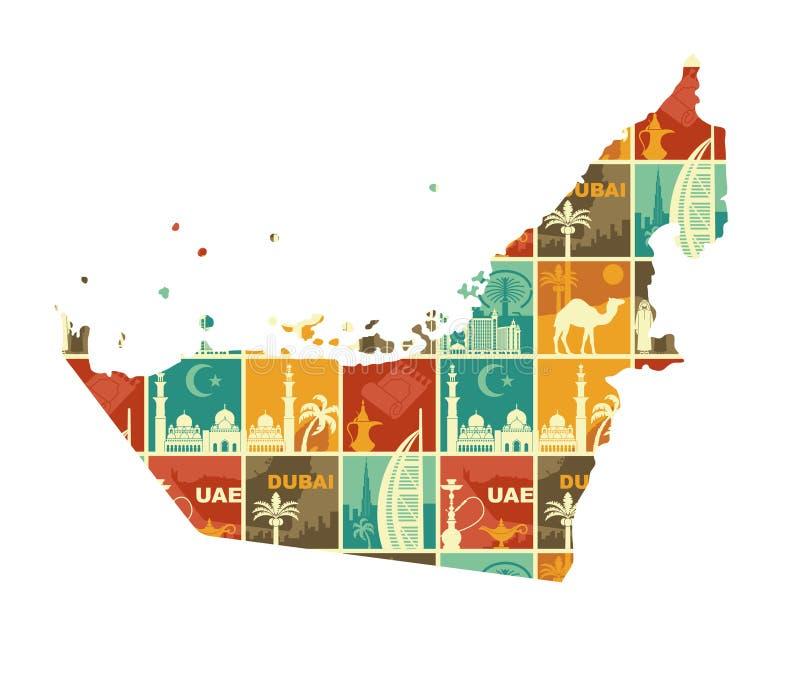 Traditionele symbolen van de Verenigde Arabische Emiraten Vectorillustratie in de vorm van een kaart van de V.A.E stock illustratie