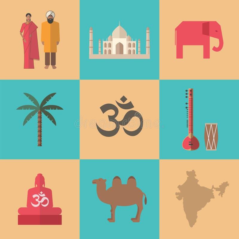 Traditionele symbolen van India Vlak pictogram vector illustratie
