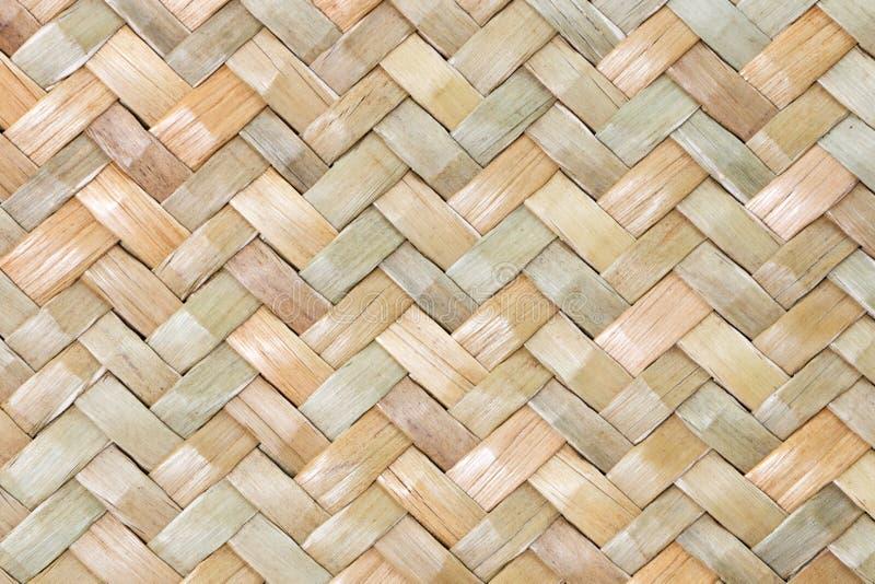 Traditionele Thaise de aardachtergrond van het stijlpatroon van bruine de textuur rieten oppervlakte van het ambachtsweefsel voor royalty-vrije stock afbeelding