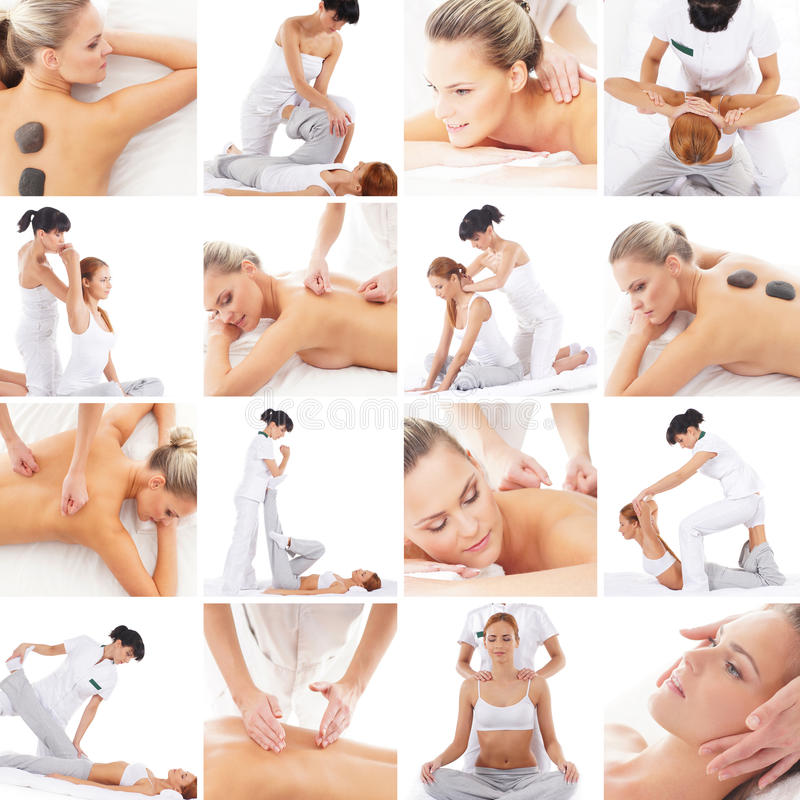 Traditionele Thaise en Skandinavische massageinzameling stock foto