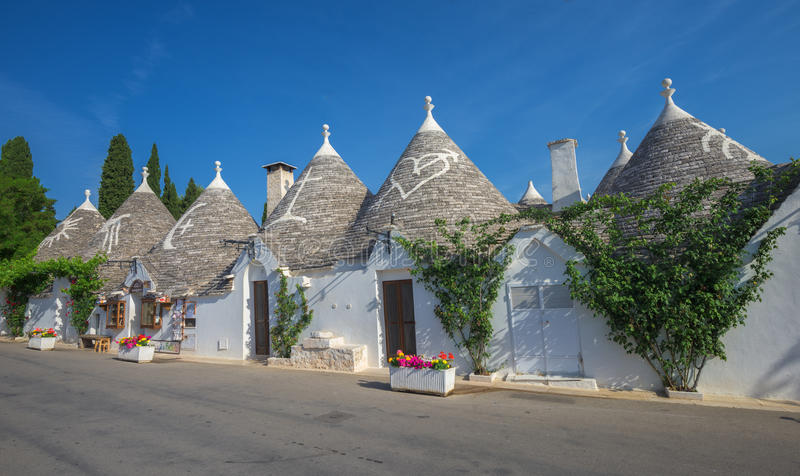 Traditionele trullihuizen, Alberobello, Puglia, Zuidelijk Italië royalty-vrije stock foto's