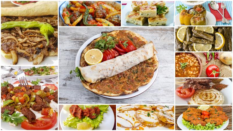 Traditionele Turkse keuken; gastronomische aroma's, Turkse voedselcollage stock afbeelding