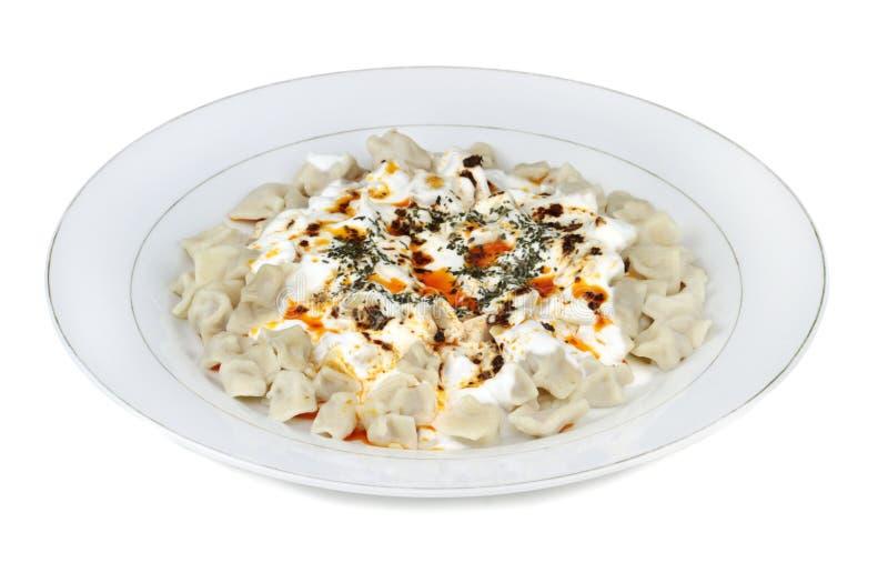 Traditionele Turkse keuken - Manti - Turkse ravioli royalty-vrije stock afbeeldingen